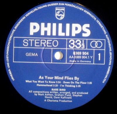 """Strona """"A"""" winylowej płyty  """"As Your Mind By Flies"""" (1970)"""