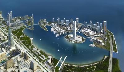Fragment widoku na Zatokę Bahraińską od strony lądu.