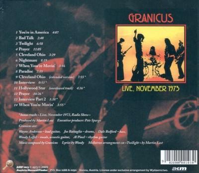 """Tył okładki """"Granicus"""" (reedycja CD z 2009)"""