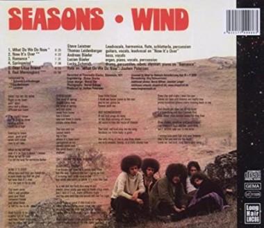 """WIND """"Seasons"""" (1971) Tył okładki."""