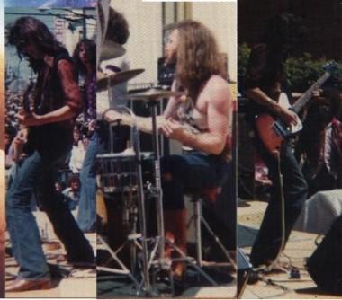 SHIVER na scenie. Od lewej: Frank Twist, Don Peck, Neil Peron.