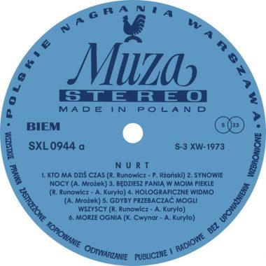 Label oryginalnej winylowej płyty.